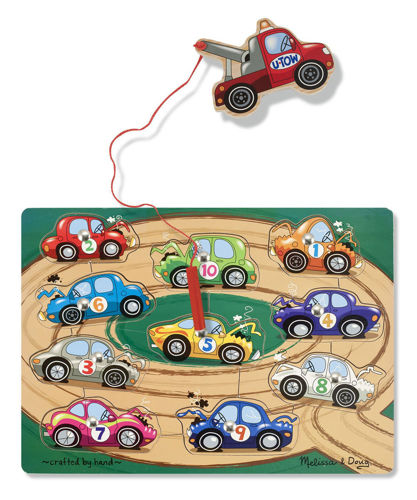 Recovery Truck Magnetic Game, wooden magnetic fishing game cars, 10 cars puzzle pieces and 1 x magnetic rod, size: (w) 30.5cm x (h) 22.9cm x (d) 2.5cm.
