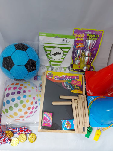 Football Fun Pack, everything you need for a fun game of football inside or out, 2 x balls, whistles medals ratchets goal cones trophies bunting scoreboard, size: various