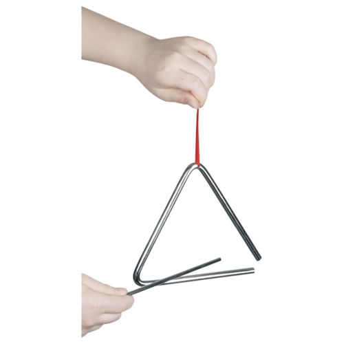 Musical Triangle, metal triangle instrument and stick with fabric holding ribbon, size: 16cm