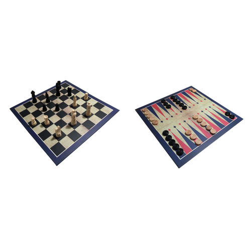 3 in 1 Classic Wooden Games Set, comprises double-sided board chess/draughts & backgammon, includes playing pieces, all wooden construction, boxed, board size: 27.5cm x 27.5cm.