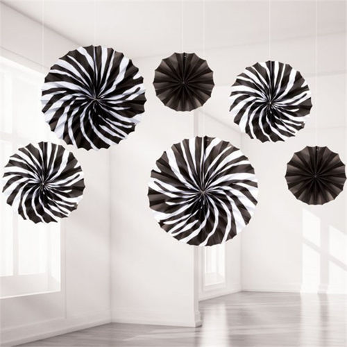 Black and White Hanging Paper Fans, assorted sizes and designs, 6 in a pack, pleated paper with hanging string attached, Size: 2 x (dia) 40cm, 2 x (dia) 30cm, 2 x (dia) 20cm fans.