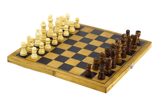 Chess Set, all wood construction, board and playing pieces included with instructions, Size: board: (l) 29cm x (w) 29cm.