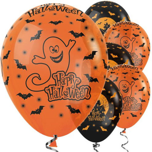 Halloween Balloons, pack of six assorted, 3 x black haunted house and 3 x orange ghost, latex.