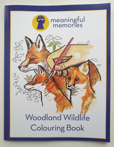 Meaningful Memories Colouring Book - Woodland Animals, 10 simple, bold removable images to paint or colour, ideal for older people with dementia or sight impairmentsize A4