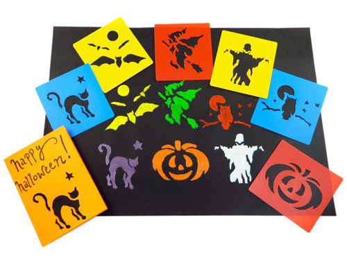 Halloween Stencils Set (Pack of 6 assorted), washable stencil set; one each of witches cat bat witch on a broom ghost pumpkin and owl, versatile for card making window decoration party fun, size: 15.2cm x 14.2cm