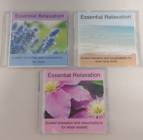 Essential Relaxation CD set (3 assorted titles), one each of Essential Relaxation - Seated, Lying Down and Sleep Well, guided relaxation and breathing techniques to help with health and wellbeing, ideal for older people in care homes hospital patients
