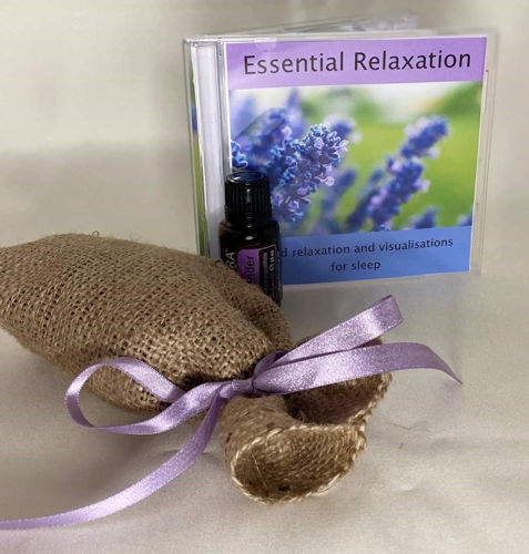 Essential Relaxation Gift Set, Essential Relaxation CD with scented massage oil and instructions for hand massage plus natural hessian storage bag.