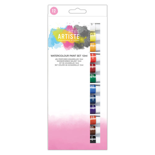 Watercolour Paint Set 1 (12 assorted 12ml tubes), easy to squeeze watercolour paint tubes, boxed.