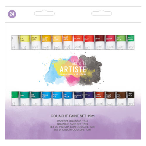 Gouache Painting Set 2 (24 x 12ml assorted tubes), gouache watercolour opaque paint tubes for all art projects, variety of artist colours, boxed, 12 ml tubes.