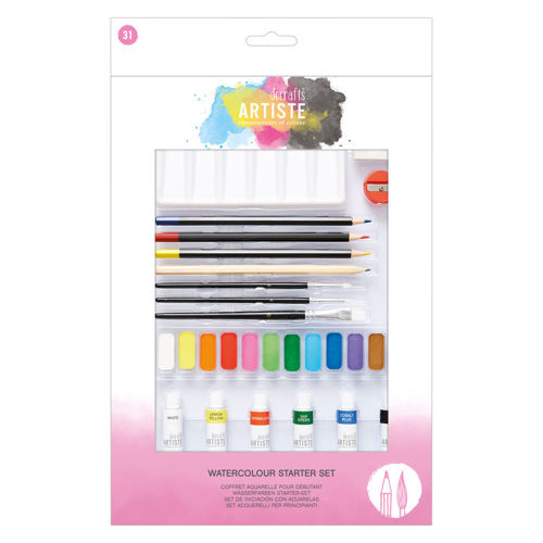 Watercolour Starter Set, includes tube watercolour paint  in 6 shades, pressed watercolour paint 11 shades, sketching pencil, 3 x watercolour pencil crayons, sharpener and paint mixing palette, boxed