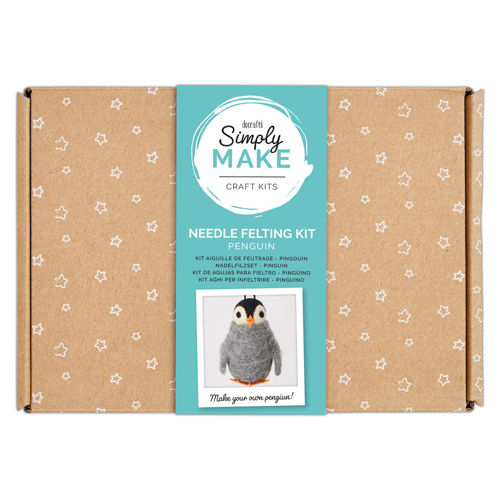 Simply Make Kit - Penguin, everything you need to make a needle felt cute penguin, simple to do and relaxing too, kit contains wool, polystyrene body shapes, felt feet and beak, 2 x felting needles, instructions, Size: Box: (l) 25.2cm x (w) 18cm x (d) 6.9cm