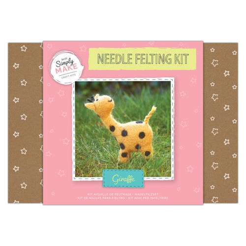 Simply Make Kit - Needle Felt Giraffe, kit contains all you need to make cute giraffe, coloured wool, polystyrene body shapes, Size: Box: (l) 25.2cm x (w) 18cm x (d) 6.9cm