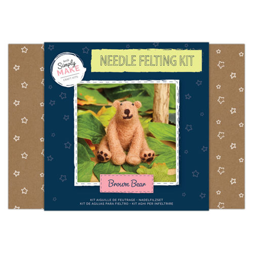Simply Make Kit - Needle Felt Brown Bear, everything you need to make this lovely bear, kit contains coloured wool, polystyrene body shapes and 2 x felting needles, Size: Box: (l) 25.2cm x (w) 18cm x (d) 6.9cm