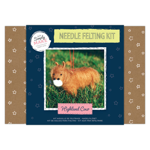 Simply Make Kit - Needle Felt Highland Cow, kit contains all you need to make this Highland Cow, contains coloured wool, polystyrene body shapes, 2 x felting needles and instructions, Size: Box: (l) 25.2cm x (w) 18cm x (d) 6.9cm