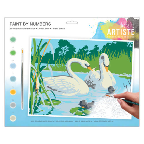 Activities to Share - Paint By Numbers Serene Swans, kit contains 7 paint pots and 1 brush with instructions, size: 39cm x 29cm