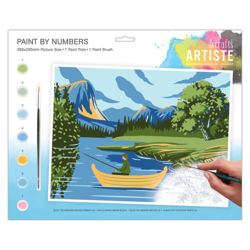 Activities to Share - Paint By Numbers - Lakes & Mountains, 7 pots of paint and 1 brush with instructions, size: 39cm x 29cm