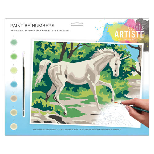 Activities to Share - Paint By Numbers Mystical Unicorn, 7 paint pots and 1 brush with instructions, size: 39cm x 29cm