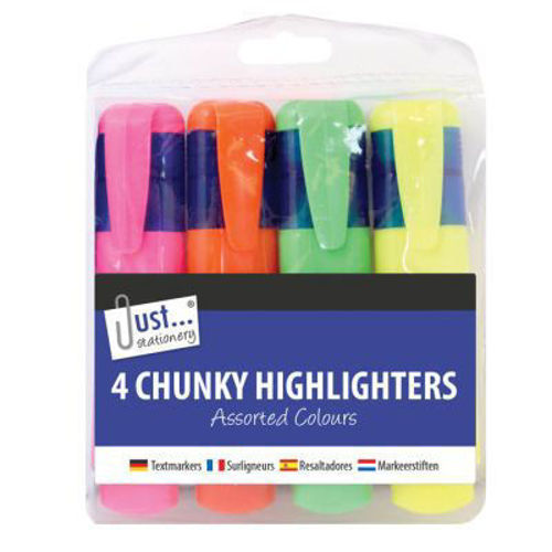 Chunky Highlighers (set of 4 assorted), four different colours in a clear wallet, broad tipped nib for office and creative projects