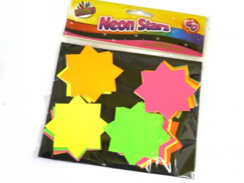 Neon Card Stars (pack of 60 shapes), assorted colours for all office and fun craft projects