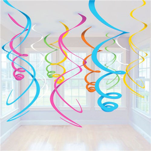 Rainbow Hanging Swirls Party Decoration, simple instant party decoration birthdays anniversaries wedding Diwali Christmas Easter, assorted colours