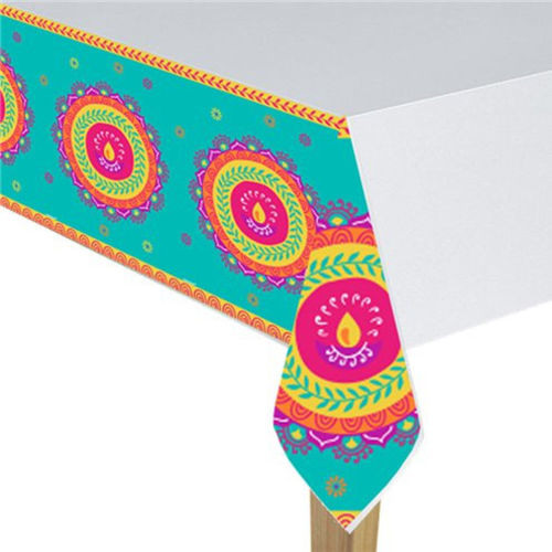 Diwali Tablecloth, party table cloth wipe clean, multicoloured edges with white centre