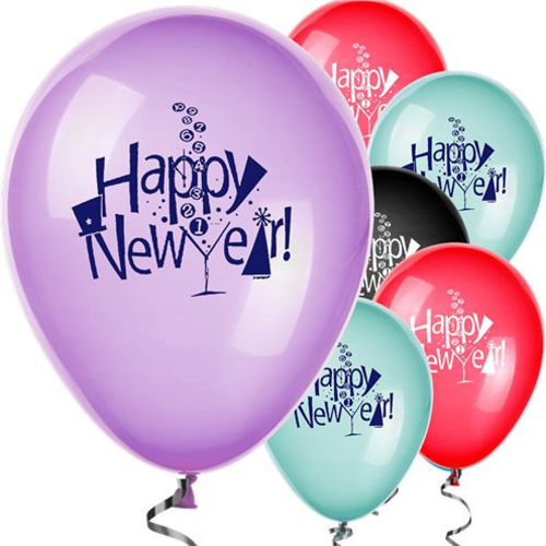 Happy New Year Balloon Set, pack of 8 assorted latex balloons, printed words and champagne logo on each, red, blue, black, lilac colours, New Year Party room decoration