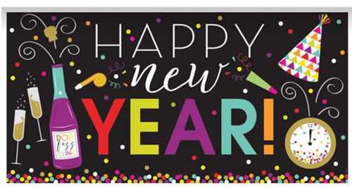 Happy New Year Banner, lightweight wipe clean plastic, party room decoration, size: (l) 165cm x (w) 85cm
