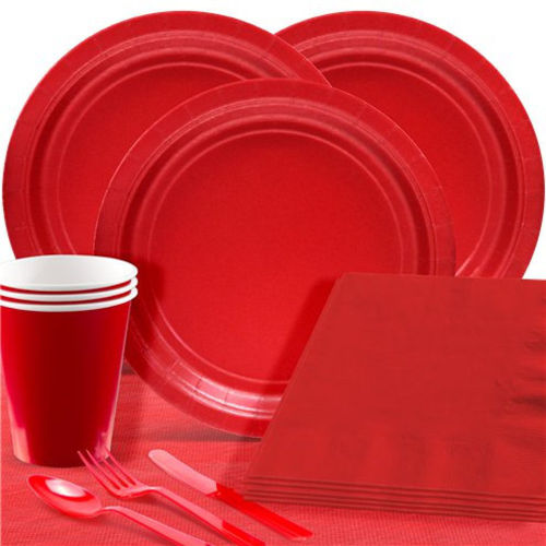 Red Party Pack, 20 each paper plates, napkins, cups, 20 each plastic knives, forks and spoons, easy hygienic for COVID-19 care home party fun