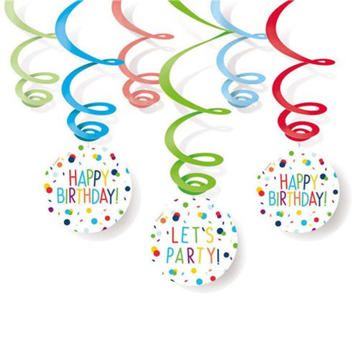 Confetti Birthday Hanging Swirls party decoration, six card swirls to hang assorted colours, care home easy room decoration