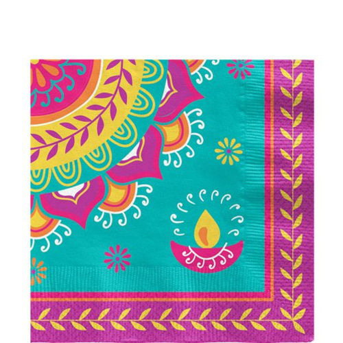 Diwali Napkins (pack of 16), paper napkin set for the Diwali Indian Festival of Light celebration parties, colourful napkins set for group party fun