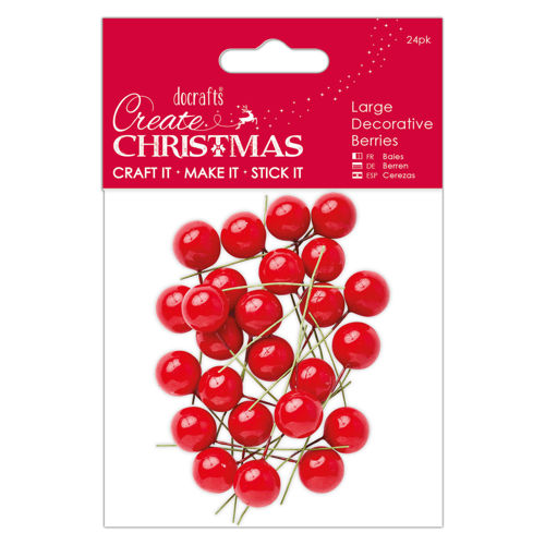 Large Decorative Red Berries, pack of 24, Christmas craft decoration projects, flower arranging, table centrepiece