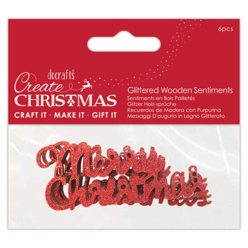 Merry Christmas Glittered Red Wooden, pack of 6, embellishment for gifts card making table decoration etc