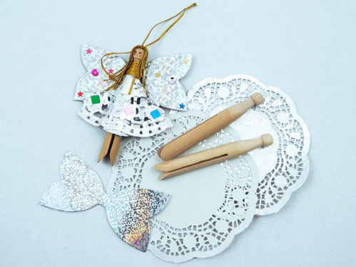 Fairy Peg Doll Kit, pack of 10, contains 10 wooden dolly pegs silver doileys silver wing cut shapes and golden thread