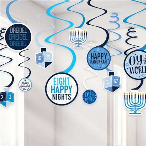Hanukkah Decor Swirls, Jewish Festival of Light room decorations, 12 assorted designs, card shapes