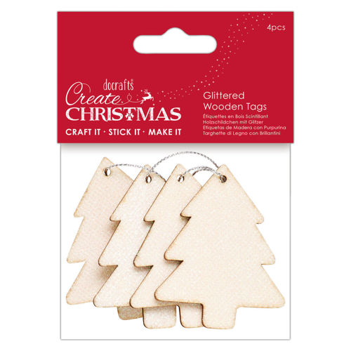 Glittery Wooden Christmas Tree Tags, wooden shaped tree tags with ribbon to hang, glittery effect for craft