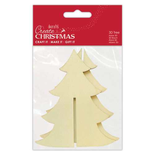 Make Your Own 3D Tree, wooden cut out shapes to slot together, ready for decorating