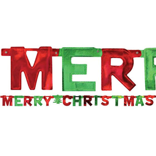 Merry Christmas Foil Letter Banner, red and green foil banner festive room decoration, cut out letters depicting Merry Christmas, size: (l) 1.5m