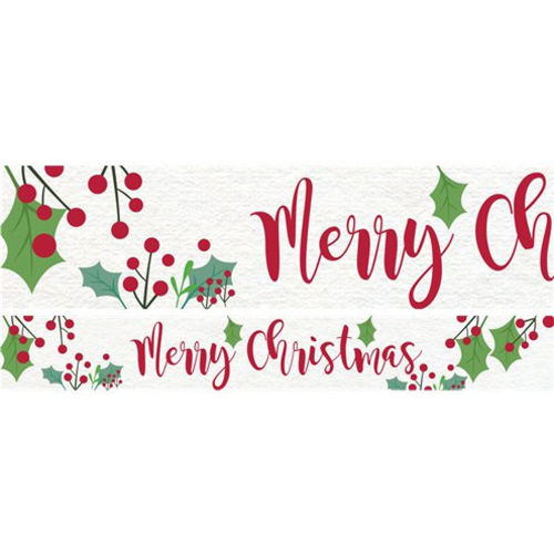 Holly Paper Banner, set of 3 banners with red berries and Merry Christmas and green holly on white background, christmas party decoration, size: (l) 1m