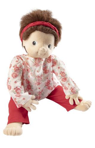 Joyk Empathy Doll - Ingrid, soft-bodied doll with removable clothes for dementia doll therapy, brown short hair, floral pink/white top and dark pink trousers, man made fabric, washable 40 oC , size: (l) 65cm