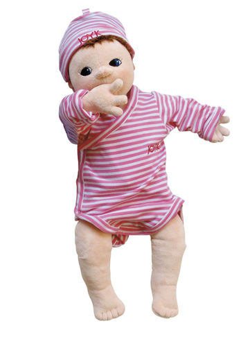 Joyk Empathy Doll - Lilly, dementia therapy aid, soft bodied doll with realistic sexual characteristics, removable pink and white clothing and hat, man made fabric, hand wash 40 oC, size: (l) 50cm