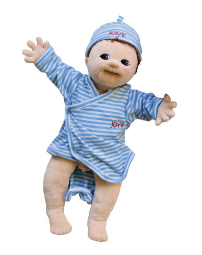 Joyk Empathy Doll - Elias, soft bodied dementia therapy doll, man made fabric, removable clothes, blue and white striped playsuit with hat, hand washable 40 oC, size: (l) 50cm