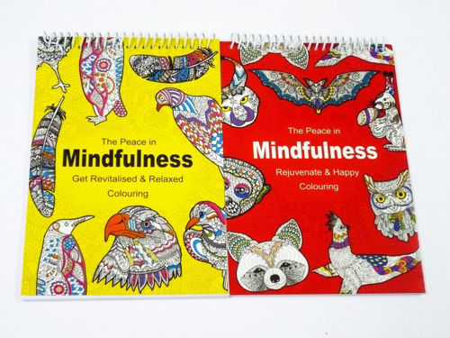 Mindfulness Colouring Books Set of 2, lots of detail. Image shows one yellow and one red cover side by side, size: 15c x 18cm, softback and spiral bound.