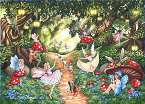 Faerie Dell - Big 500 Piece Jigsaw Puzzle, lots of detail. Image shows colourful fairy garden, Pieces approx. 3.6cm.  Completed Size: 68.6cm x 48.3cm. Boxed.