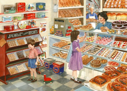 Tuppeny Treats Big 500 Piece Puzzle for care home residents, images shows children in a bakery choosing pocket money cakes, Pieces approx. 3.6cm in size.  Completed size: 68.6cm x 48.3cm. Boxed.