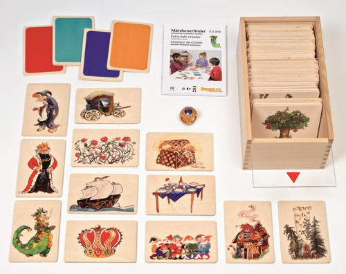 Fairy Tale Creation Game, high quality all wood construction 56 assorted fairytale picture tiles with coloured jewel dice, instructions and wooden storage box, Size: picture cards (l) 15cm x (w) 10cm x (d) 0.3cm thick, wooden box (l) 21cm x (w) 18cm x (d) 12cm, fairy tale cube (l) 3.5cm x (w) 3.5cm x (d) 3.5cm.
