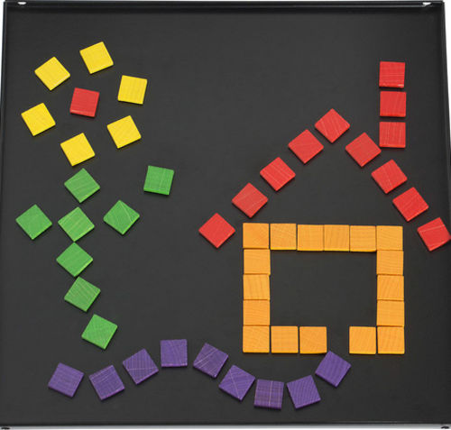 Magnetic Placement Game, black powder coated steel backing board with 100 coloured polished hardwood magnetised playing squares in yellow green blue red and violet, size: board: (l) 30cm x (w) 30cm. playing squares: (l) 1.6cm x (w) 1.6cm x (d) 0.4cm. 100 pieces.