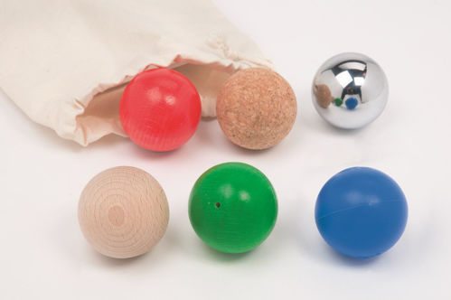 Wall Play Track - Set of Balls, 6 assorted balls for sensory and tactile play older dementia patients, 1 x natural beech, 1 x shiny steel, 1 x cork, 1 x painted green with sound, 1 x painted red and 1 x painted blue, size: (dia) 5cm.