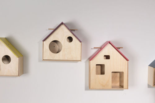 House of Discovery Set, 4 assorted birch wood houses with removable magnetic fronts, wooden removable dowel for hanging items inside, assorted stained roof colours blue red yellow and orange, Size: (large house: (l) 25cm x (w) 25cm roof (d) 11cm, (small house): (l) 20cm x (w) 20cm x roof (d) 11cm.