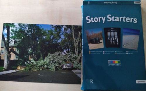 Story Starter Picture Cards, 30 photographic cards grouped into themes with suggestions for stories on reverse, stored in box with blue background and 3 card images with text, size: A5.