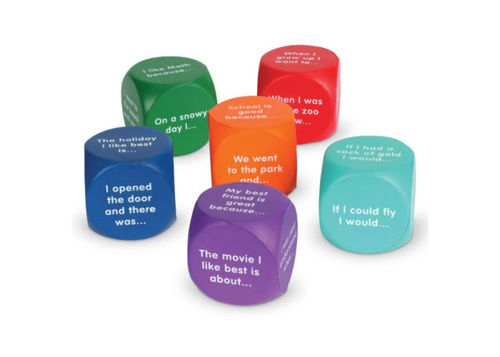 Writing and Poem Prompt Cubes, 6 assorted foam cubes, 1 x each red, dk blue, light blue, green, orange, purple, white text on each side, lightweight  foam, size: 4cm squared.